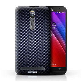 STUFF4 Phone Case/Cover for Asus Zenfone 2 ZE550ML/Blue Design/Carbon Fibre Effect/Pattern Mobile phones