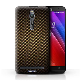 STUFF4 Phone Case/Cover for Asus Zenfone 2 ZE550ML/Gold Design/Carbon Fibre Effect/Pattern Mobile phones