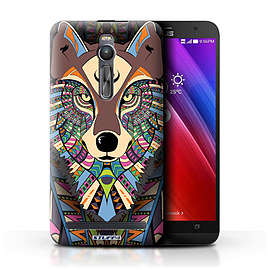 STUFF4 Phone Case/Cover for Asus Zenfone 2 ZE551ML/Wolf-Colour Design/Aztec Animal Design Mobile phones