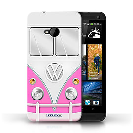 STUFF4 Phone Case/Cover for HTC One/1 M7/Pink Design/VW Camper Van Mobile phones