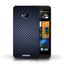 STUFF4 Phone Case/Cover for HTC One/1 M7/Blue Design/Carbon Fibre Effect/Pattern Mobile phones