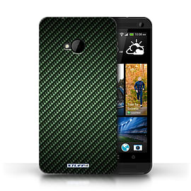 STUFF4 Phone Case/Cover for HTC One/1 M7/Green Design/Carbon Fibre Effect/Pattern Mobile phones