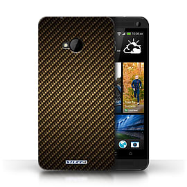 STUFF4 Phone Case/Cover for HTC One/1 M7/Gold Design/Carbon Fibre Effect/Pattern Mobile phones