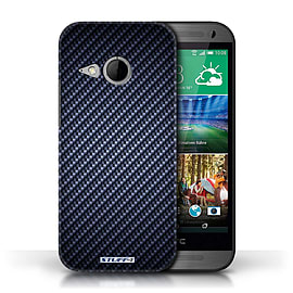 STUFF4 Phone Case/Cover for HTC One/1 Mini 2/Blue Design/Carbon Fibre Effect/Pattern Mobile phones