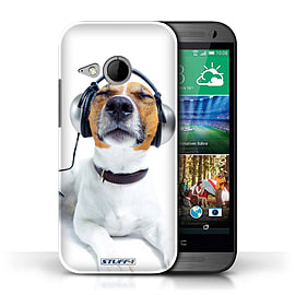 STUFF4 Phone Case/Cover for HTC One/1 Mini 2/Chillin Headphone Dog Design/Funny Animals Mobile phones