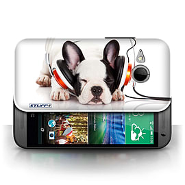 STUFF4 Phone Case/Cover for HTC One/1 Mini 2/Snooze Headphone Dog Design/Funny Animals Mobile phones