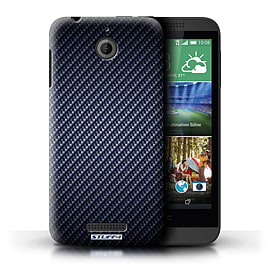 STUFF4 Phone Case/Cover for HTC Desire 510/Blue Design/Carbon Fibre Effect/Pattern Mobile phones