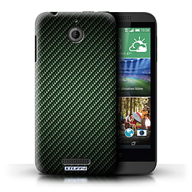 STUFF4 Phone Case/Cover for HTC Desire 510/Green Design/Carbon Fibre Effect/Pattern Mobile phones