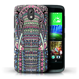 STUFF4 Phone Case/Cover for HTC Desire 526G+/Elephant-Colour Design/Aztec Animal Design Mobile phones