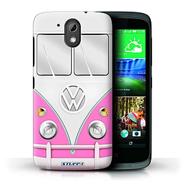 STUFF4 Phone Case/Cover for HTC Desire 526G+/Pink Design/VW Camper Van Mobile phones
