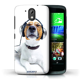 STUFF4 Phone Case/Cover for HTC Desire 526G+/Chillin Headphone Dog Design/Funny Animals Mobile phones