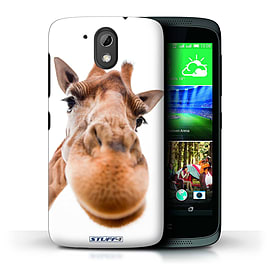STUFF4 Phone Case/Cover for HTC Desire 526G+/Closeup Giraffe Design/Funny Animals Mobile phones