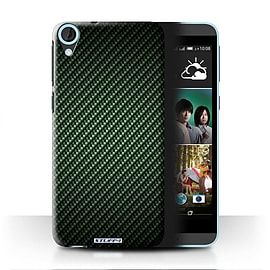 STUFF4 Phone Case/Cover for HTC Desire 820/Green Design/Carbon Fibre Effect/Pattern Mobile phones