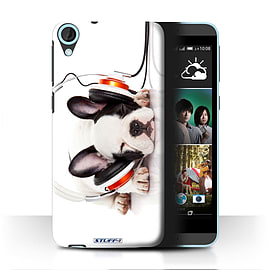 STUFF4 Phone Case/Cover for HTC Desire 820/Snooze Headphone Dog Design/Funny Animals Mobile phones