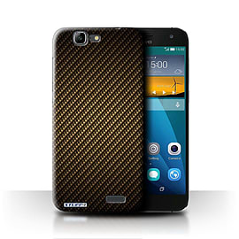 STUFF4 Phone Case/Cover for Huawei Ascend G7/Gold Design/Carbon Fibre Effect/Pattern Mobile phones
