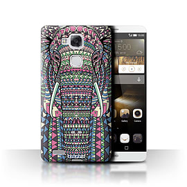 STUFF4 Phone Case/Cover for Huawei Ascend Mate7/Elephant-Colour Design/Aztec Animal Design Mobile phones