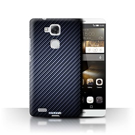 STUFF4 Phone Case/Cover for Huawei Ascend Mate7/Blue Design/Carbon Fibre Effect/Pattern Mobile phones