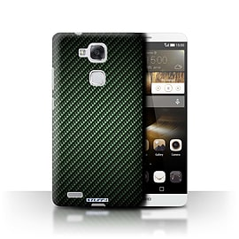 STUFF4 Phone Case/Cover for Huawei Ascend Mate7/Green Design/Carbon Fibre Effect/Pattern Mobile phones