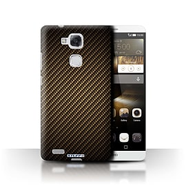 STUFF4 Phone Case/Cover for Huawei Ascend Mate7/Gold Design/Carbon Fibre Effect/Pattern Mobile phones