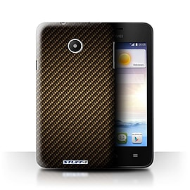STUFF4 Phone Case/Cover for Huawei Ascend Y330/Gold Design/Carbon Fibre Effect/Pattern Mobile phones