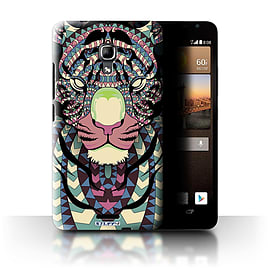STUFF4 Phone Case/Cover for Huawei Ascend Mate2 4G/Tiger-Colour Design/Aztec Animal Design Mobile phones