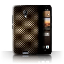 STUFF4 Phone Case/Cover for Huawei Ascend Mate2 4G/Gold Design/Carbon Fibre Effect/Pattern Mobile phones