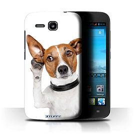 STUFF4 Phone Case/Cover for Huawei Ascend Y600/Listening Dog Design/Funny Animals Mobile phones