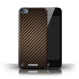 STUFF4 Phone Case/Cover for Apple iPod Touch 5 (5th Generation)/Gold Design/Carbon Fibre Effect Mobile phones