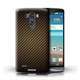 STUFF4 Phone Case/Cover for LG G3/D850/D855/Gold Design/Carbon Fibre Effect/Pattern Mobile phones
