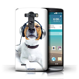 STUFF4 Phone Case/Cover for LG G3/D850/D855/Chillin Headphone Dog Design/Funny Animals Mobile phones