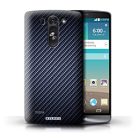 STUFF4 Phone Case/Cover for LG G3 S (Mini)/D722/Blue Design/Carbon Fibre Effect/Pattern Mobile phones