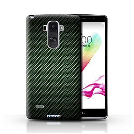 STUFF4 Phone Case/Cover for LG G4 Stylus/Green Design/Carbon Fibre Effect/Pattern Mobile phones