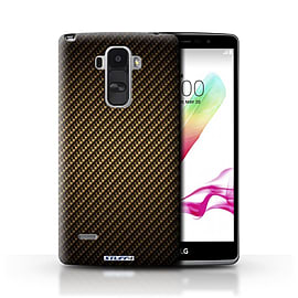 STUFF4 Phone Case/Cover for LG G4 Stylus/Gold Design/Carbon Fibre Effect/Pattern Mobile phones