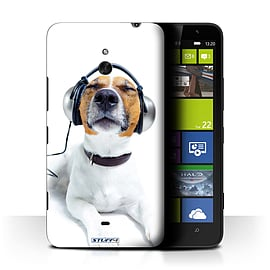 STUFF4 Phone Case/Cover for Nokia Lumia 1320/Chillin Headphone Dog Design/Funny Animals Mobile phones