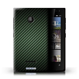 STUFF4 Phone Case/Cover for Microsoft Lumia 435/Green Design/Carbon Fibre Effect/Pattern Mobile phones