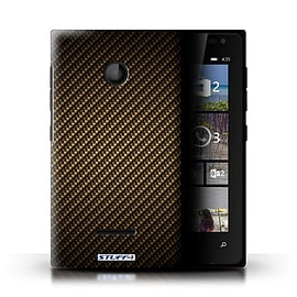 STUFF4 Phone Case/Cover for Microsoft Lumia 435/Gold Design/Carbon Fibre Effect/Pattern Mobile phones