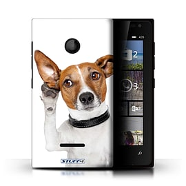 STUFF4 Phone Case/Cover for Microsoft Lumia 435/Listening Dog Design/Funny Animals Mobile phones