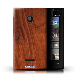 STUFF4 Phone Case/Cover for Microsoft Lumia 435/Mahogany Design/Wood Grain Effect/Pattern Mobile phones