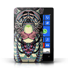 STUFF4 Phone Case/Cover for Nokia Lumia 520/Tiger-Colour Design/Aztec Animal Design Mobile phones