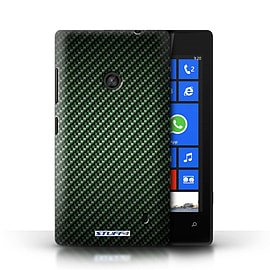 STUFF4 Phone Case/Cover for Nokia Lumia 520/Green Design/Carbon Fibre Effect/Pattern Mobile phones