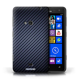STUFF4 Phone Case/Cover for Nokia Lumia 625/Blue Design/Carbon Fibre Effect/Pattern Mobile phones