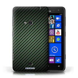 STUFF4 Phone Case/Cover for Nokia Lumia 625/Green Design/Carbon Fibre Effect/Pattern Mobile phones