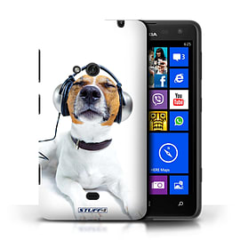 STUFF4 Phone Case/Cover for Nokia Lumia 625/Chillin Headphone Dog Design/Funny Animals Mobile phones