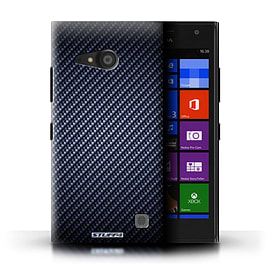 STUFF4 Phone Case/Cover for Nokia Lumia 735/Blue Design/Carbon Fibre Effect/Pattern Mobile phones