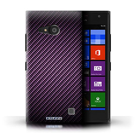 STUFF4 Phone Case/Cover for Nokia Lumia 735/Purple Design/Carbon Fibre Effect/Pattern Mobile phones