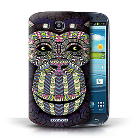 STUFF4 Phone Case/Cover for Samsung Galaxy S3/SIII/Monkey-Colour Design/Aztec Animal Design Mobile phones