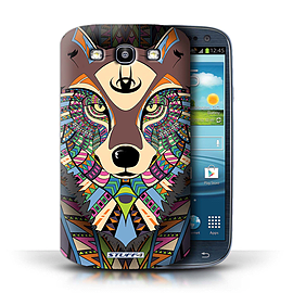 STUFF4 Phone Case/Cover for Samsung Galaxy S3/SIII/Wolf-Colour Design/Aztec Animal Design Mobile phones