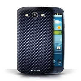 STUFF4 Phone Case/Cover for Samsung Galaxy S3/SIII/Blue Design/Carbon Fibre Effect/Pattern Mobile phones