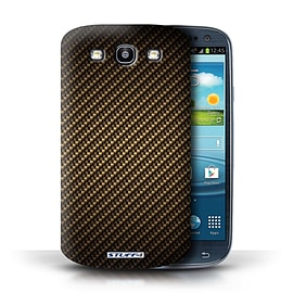 STUFF4 Phone Case/Cover for Samsung Galaxy S3/SIII/Gold Design/Carbon Fibre Effect/Pattern Mobile phones