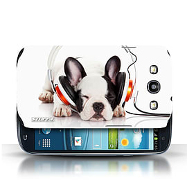 STUFF4 Phone Case/Cover for Samsung Galaxy S3/SIII/Snooze Headphone Dog Design/Funny Animals Mobile phones